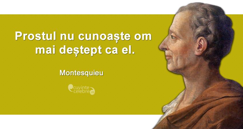 """""""Prostul nu cunoaște om mai deștept ca el."""" Montesquieu"""