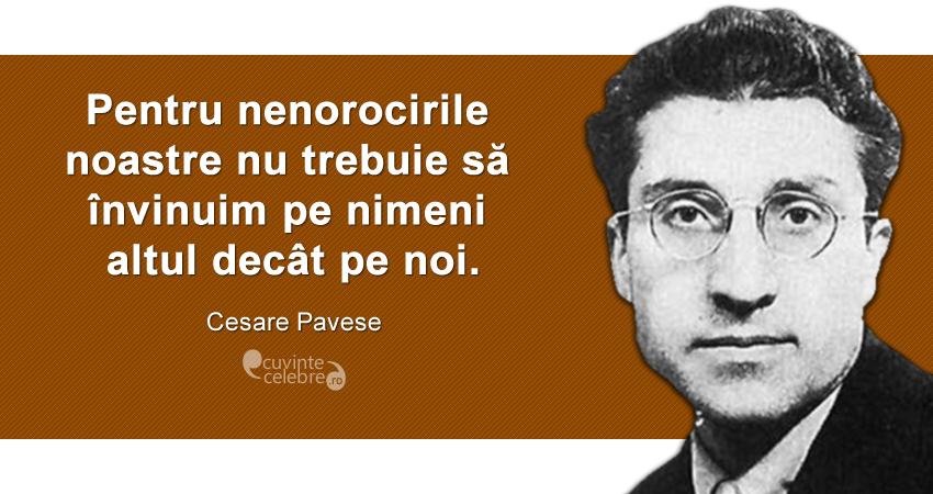 """""""Pentru nenorocirile noastre nu trebuie să învinuim pe nimeni altul decât pe noi."""" Cesare Pavese"""