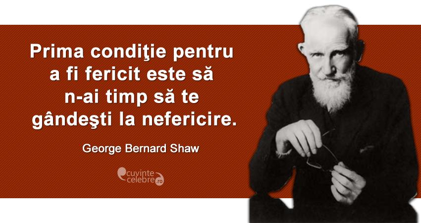 """""""Prima condiţie pentru a fi fericit este să n-ai timp să te gândeşti la nefericire."""" George Bernard Shaw"""