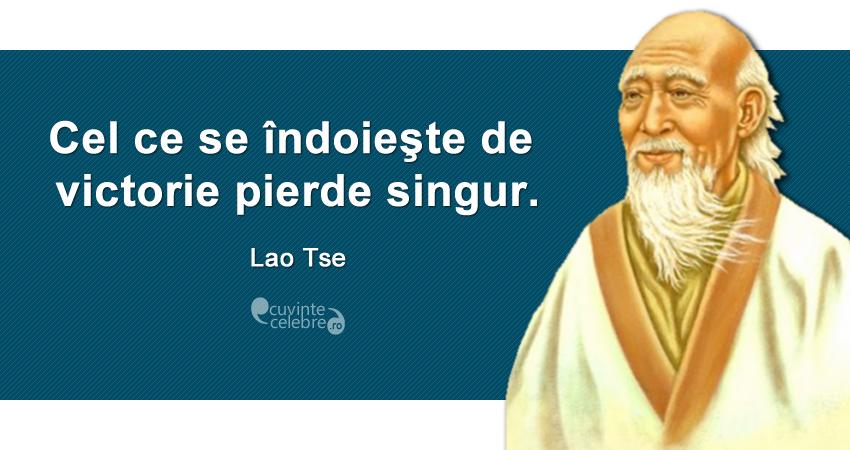 """""""Cel ce se îndoieşte de victorie pierde singur."""" Lao Tse"""