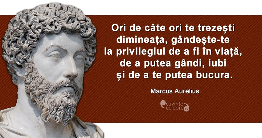 """""""Ori de câte ori te trezești dimineața, gândește-te la privilegiul de a fi în viață, de a putea gândi, iubi și de a te putea bucura."""" Marcus Aurelius"""