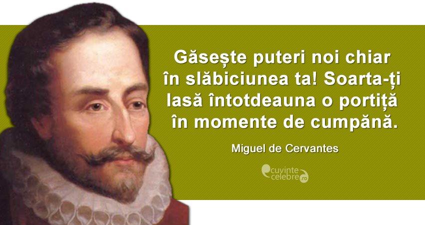 """""""Găsește puteri noi chiar în slăbiciunea ta! Soarta-ți lasă întotdeauna o portiță în momente de cumpănă."""" Miguel de Cervantes"""