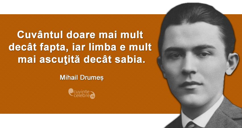 """""""Cuvântul doare mai mult decât fapta, iar limba e mult mai ascuţită decât sabia."""" Mihail Drumeș"""
