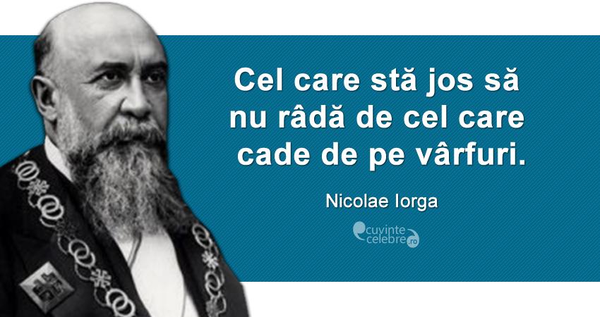 """""""Cel care stă jos să nu râdă de cel care cade de pe vârfuri."""" Nicolae Iorga"""
