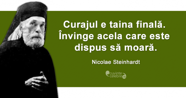 """""""Curajul e taina finală. Învinge acela care este dispus să moară."""" Nicolae Steinhardt"""