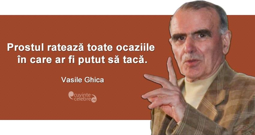 """""""Prostul ratează toate ocaziile în care ar fi putut să tacă."""" Vasile Ghica"""
