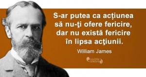 """""""S-ar putea ca acțiunea să nu-ţi ofere fericire, dar nu există fericire în lipsa acţiunii."""" William James"""