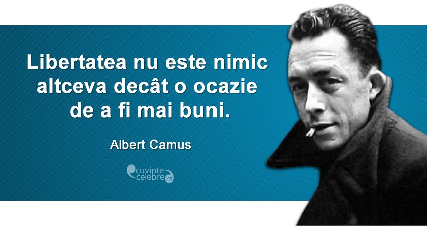 """""""Libertatea nu este nimic altceva decât o ocazie de a fi mai buni."""" Albert Camus"""