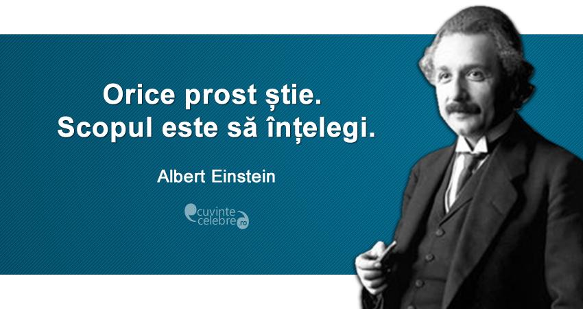 """""""Orice prost știe. Scopul este să înțelegi."""" Albert Einstein"""