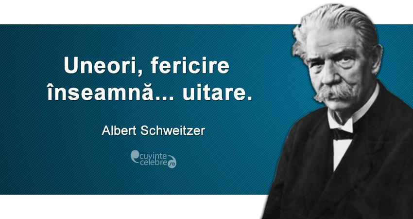 """""""Uneori, fericire înseamnă... uitare."""" Albert Schweitzer"""