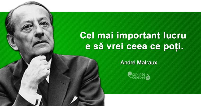 """""""Cel mai important lucru e să vrei ceea ce poți."""" André Malraux"""