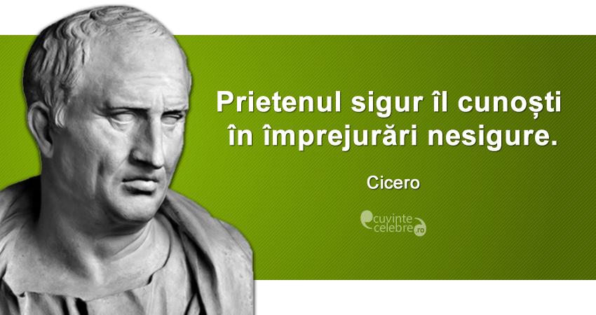"""""""Prietenul sigur îl cunoști în împrejurări nesigure."""" Cicero"""