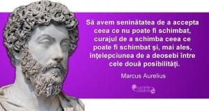 """""""Să avem seninătatea de a accepta ceea ce nu poate fi schimbat, curajul de a schimba ceea ce poate fi schimbat şi, mai ales, înţelepciunea de a deosebi între cele două posibilități."""" Marcus Aurelius"""