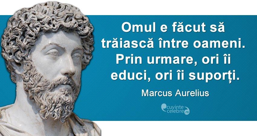 """""""Omul e făcut să trăiască între oameni. Prin urmare, ori îi educi, ori îi suporți."""" Marcus Aurelius"""
