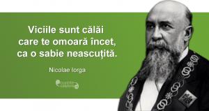 """""""Viciile sunt călăi care te omoară încet, ca o sabie neascuțită."""" Nicolae Iorga"""