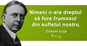 """""""Nimeni n-are dreptul să fure frumosul din sufletul nostru."""" Octavian Goga"""