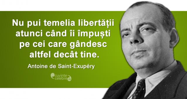 """""""Nu pui temelia libertății atunci când îi împuști pe cei care gândesc altfel decât tine."""" Antoine de Saint-Exupéry"""