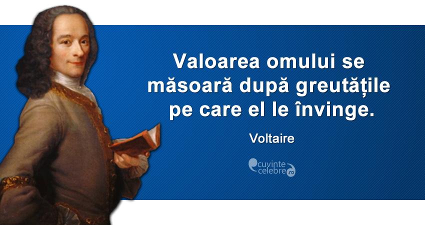 """""""Valoarea omului se măsoară după greutățile pe care el le învinge."""" Voltaire"""