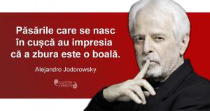 """""""Păsările care se nasc în cușcă au impresia că a zbura este o boală."""" Alejandro Jodorowsky"""