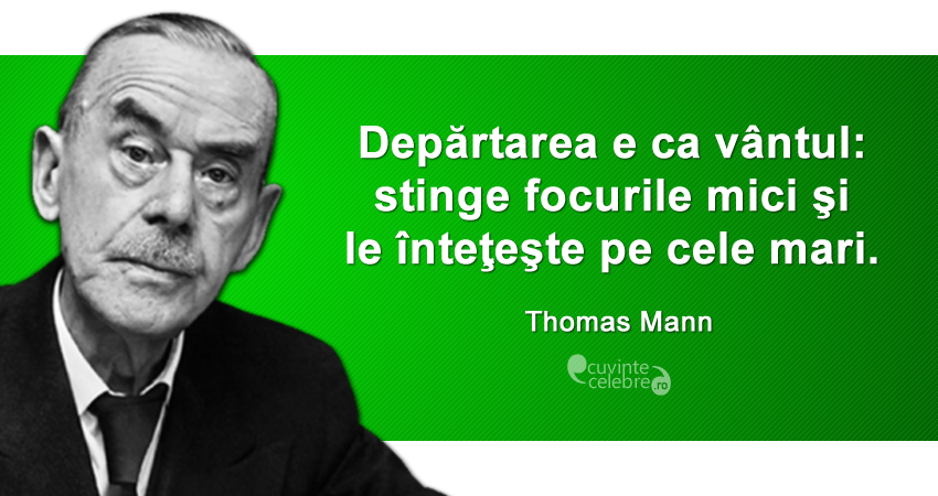 """""""Depărtarea e ca vântul: stinge focurile mici şi le înteţeşte pe cele mari."""" Thomas Mann"""