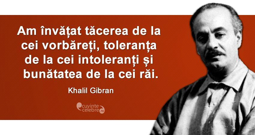 """""""Am învățat tăcerea de la cei vorbăreți, toleranța de la cei intoleranți și bunătatea de la cei răi."""" Khalil Gibran"""