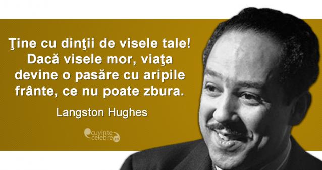 """""""Ţine cu dinţii de visele tale! Dacă visele mor, viaţa devine o pasăre cu aripile frânte, ce nu poate zbura."""" Langston Hughes"""