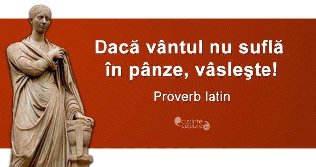 """""""Dacă vântul nu suflă în pânze, vâsleşte!"""" Proverb latin"""